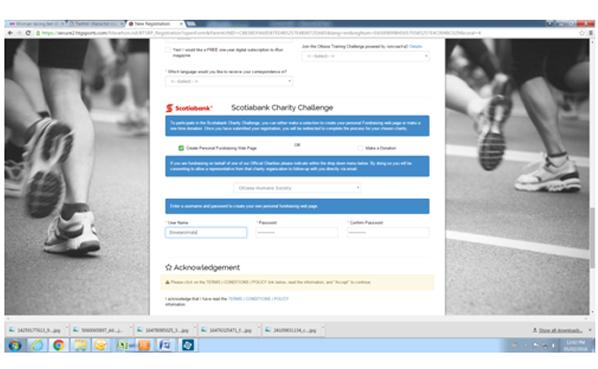 TORW Webpage Registration screenshot